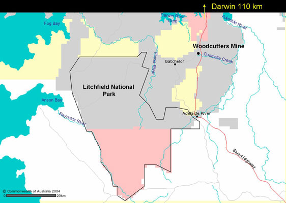 Figure. Location of Woodcutters Mine reserve and Litchfield National Park, Northern Territory
