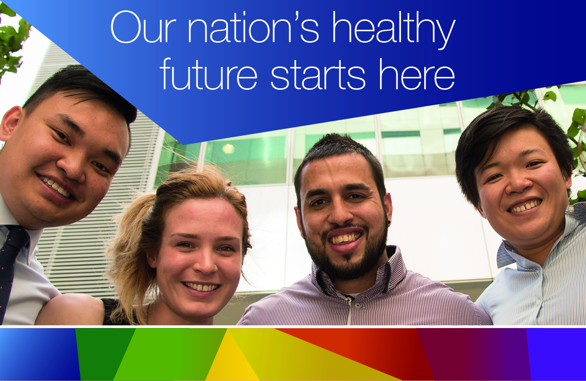 Our nation's healthy future starts here. Image of four  Department of Health graduates