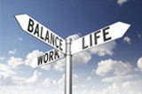 Image of a signpost offering the directions to work and life with balance between the two. 3d render.