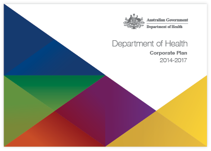 The image is of the Department of Health Corporate Plan 2014 to 2017.
