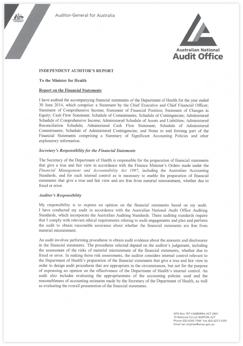This is page 1 of 2 of a letter from the Auditor-General to the Minister for Health and Medical Research, dated 13 September 2013 providing a report on the Department of Health and Ageing's Financial Statements.