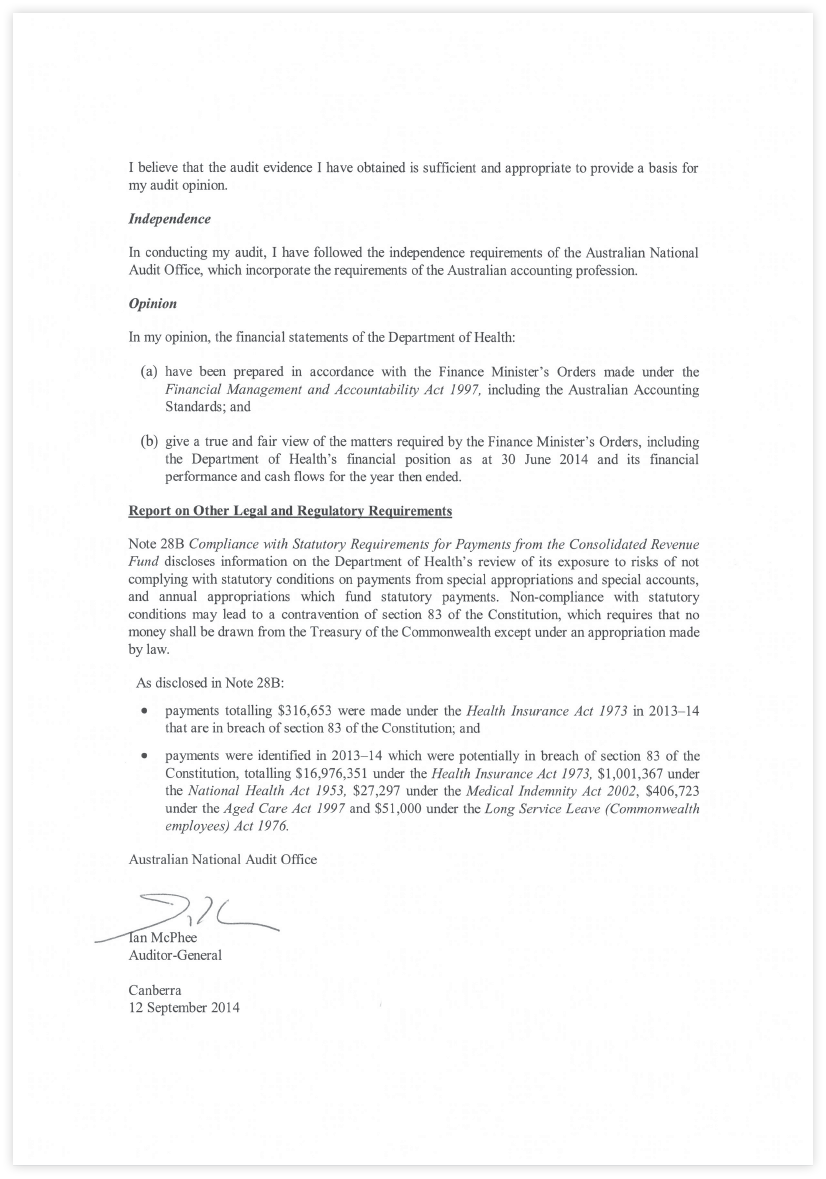 This is a signed statement by Professor Jane Halton, Secretary and John Barbeler, Chief Financial Officer, dated 13 September 2013 certifying the Department of Health and Ageing's Financial Statements to be true and accurate.