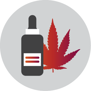 This icon depicts a dropper bottle of medicine and a marijuana leaf.